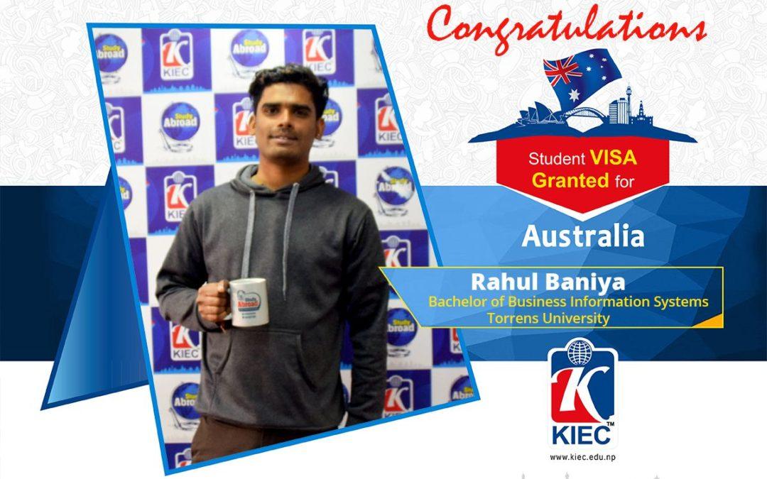 Rahul Baniya | Australia Study Visa Granted
